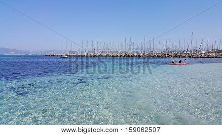 Beautiful sea views with boats yachts and Palma de Mallorca on the horizon L'Arenal Majorca Balearic Islands Spain