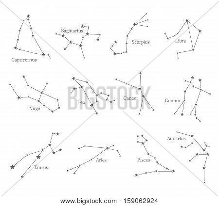 Zodiac astrological sign symbols isolated on white background. Horoscope set Leo, Virgo, Scorpio, Libra, Aquarius, Sagittarius, Pisces, Capricorn, Taurus Aries Gemini Cancer Vector illustration