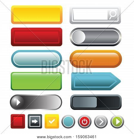 Colorful gradient blank web buttons icons set. Cartoon illustration of 16 colorful gradient blank button vector icons for web