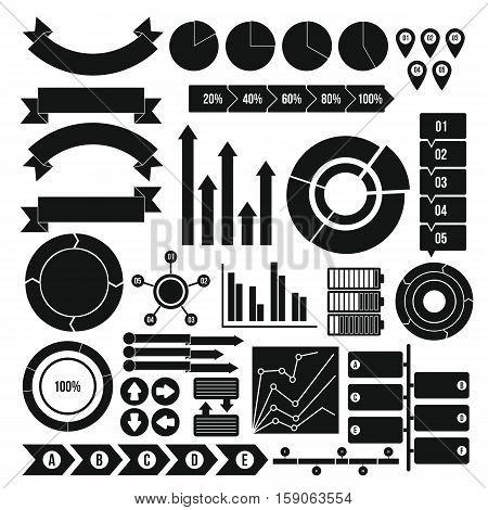 Infographic design parts icons set. Simple illustration of 16 infographic design parts vector icons for web