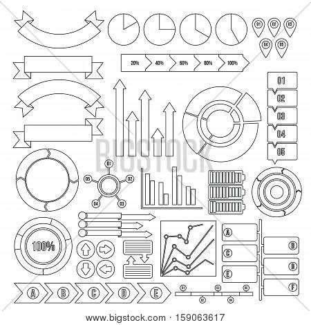 Infographic design parts icons set. Outline illustration of 16 infographic design parts vector icons for web
