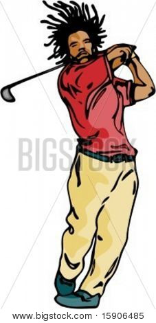 Man playing golf. Pantone colors. Check my portfolio for many more images of this series.