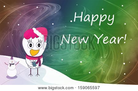 Christmas And New Year Greeting Card With Cheerful Rooster In Santa Hat On Snowy Winter Landscape. R