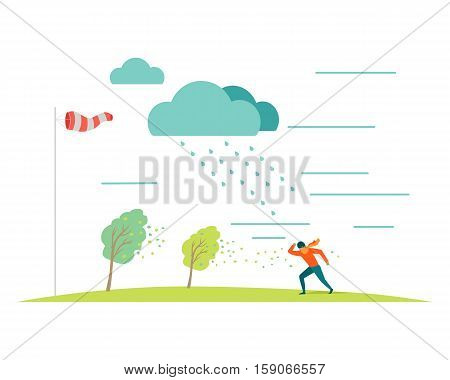 Bad or stormy weather vector concept. Flat design. Man in scarf moving against the strong wind in the rain, storm blowing trees leaves, windsock on pole shows wind direction. For weather concepts