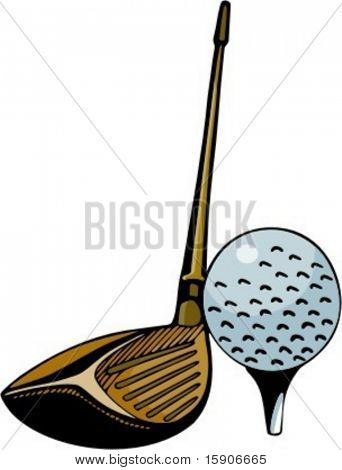 Close up of a golf stick and a ball. Pantone colors. Very clean vectors.