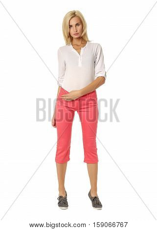 Beautiful Sexual Model Blonde Pose In Pink Breeches
