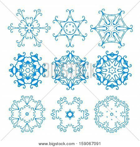 Snowflake vector and season nature winter snowflake symbol. Snowflake frozen ice xmas cold winter and frost snowflake silhouette sign. Winter snow traditional beautiful snowflake star ornament.