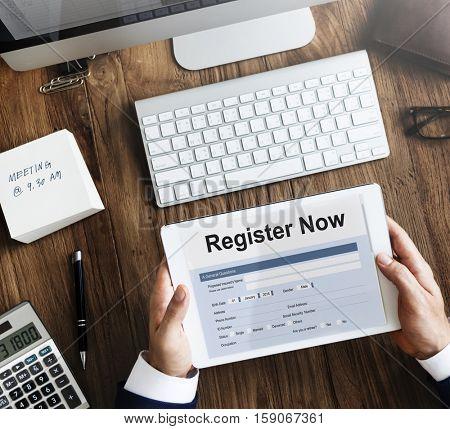 Register Now Application Information Concept