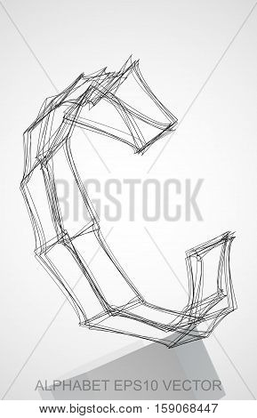 Abstract illustration of a Ink sketched uppercase letter C with Reflection. Hand drawn 3D C for your design. EPS 10 vector illustration.