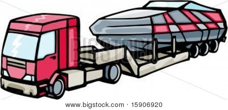 Truck transporting a motor boat. Check my portfolio for many more images of this series.