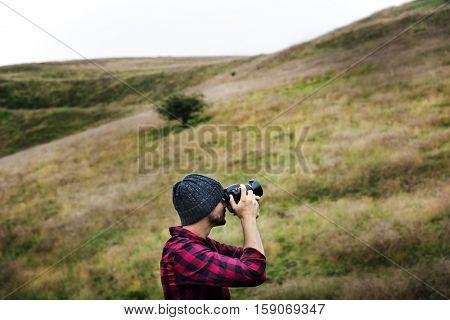 Man Photography Camera Nature Environment Concept