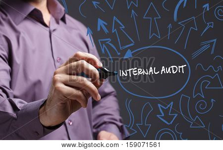 Technology, Internet, Business And Marketing. Young Business Man Writing Word: Internal Audit