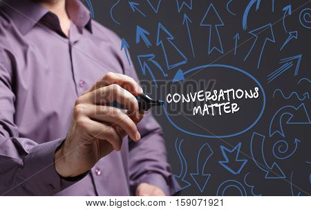 Technology, Internet, Business And Marketing. Young Business Man Writing Word: Conversations Matter