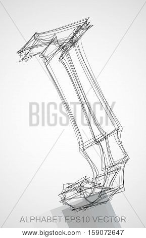 Abstract illustration of a Ink sketched uppercase letter J with Reflection. Hand drawn 3D J for your design. EPS 10 vector illustration.