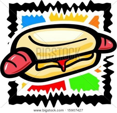 Vector illustration of a hot dog.