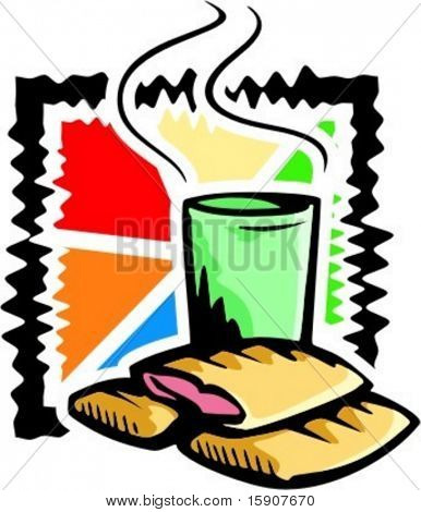 A vector illustration of strudels with warm drink.