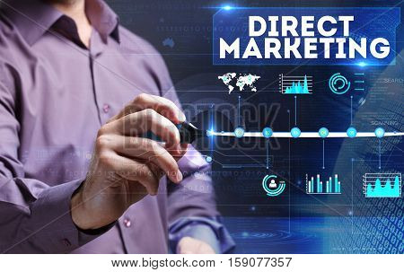 Technology, Internet, Business And Marketing. Young Business Man Writing Word: Direct Marketing