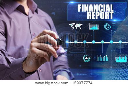 Technology, Internet, Business And Marketing. Young Business Man Writing Word: Financial Report