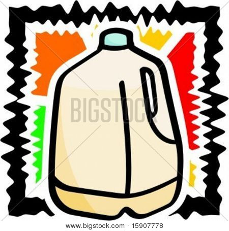 A vector illustration of a gallon of milk.