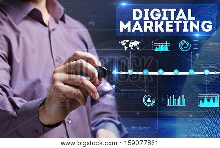 Technology, Internet, Business And Marketing. Young Business Man Writing Word: Digital Marketing