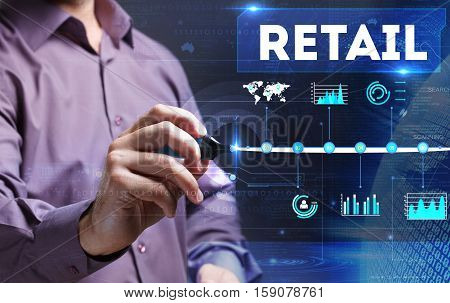 Technology, Internet, Business And Marketing. Young Business Man Writing Word: Retail