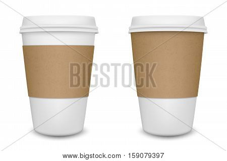 Realistic blank paper coffee cup set isolated on white background. Vector design template. EPS10 illustration.