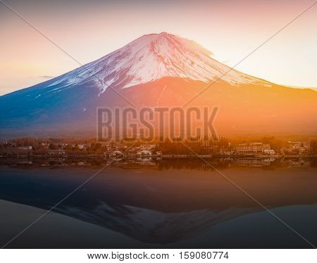 Mount Fuji Reflected In Lake Kawaguchi On Sunset