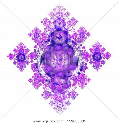 Abstract Crystal Purple Mechanism On White Background. Fractal Art. 3D Rendering.