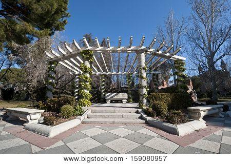 Pergola in Cecilio Rodriguez Gardens, Retiro Park, Madrid, Spain