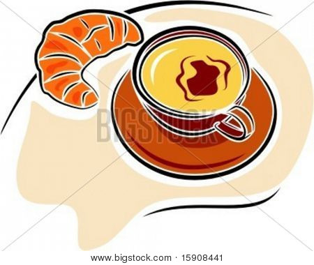 Coffee with crescent croissant.Vector illustration