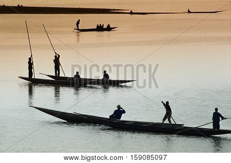 Mopti, Mali, Africa - The Port Of The City Where It Joins The Bani River With The River Niger