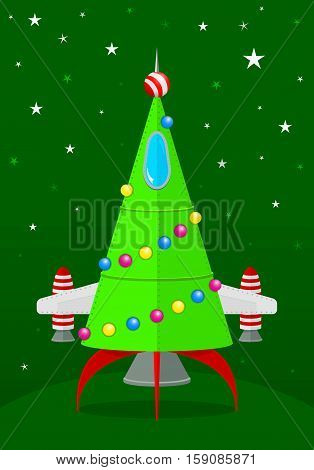Comic christmas tree shaped spaceship with green background with stars - Vector image
