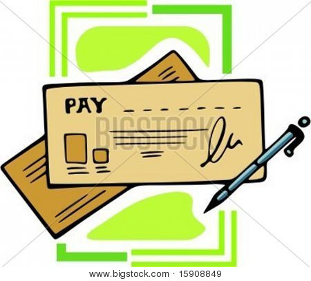 Pay check\cheque with pen.Vector illustration