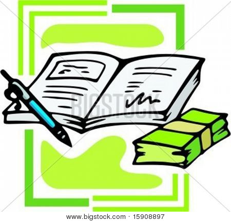 Book with pen and money wad.Vector illustration