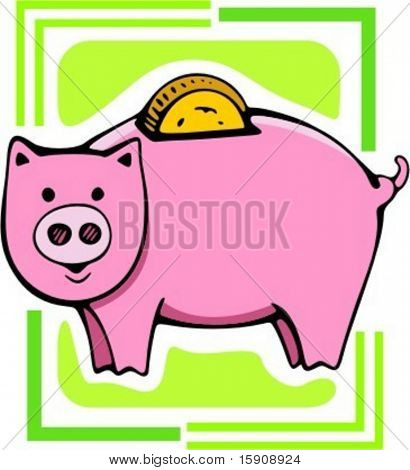 Pig money box.Vector illustration