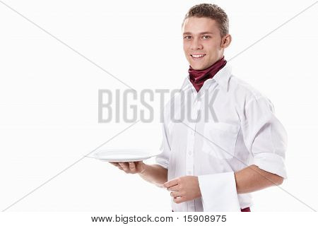 Waiter With Empty Plate