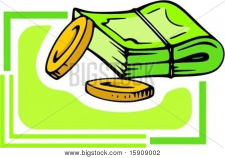 Money wad and coins.Vector illustration