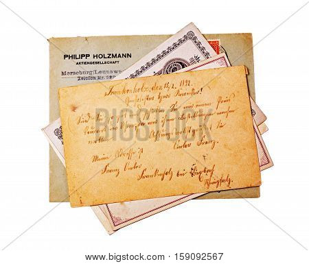 Vintage Postcards And Envelope With Handwriting Text