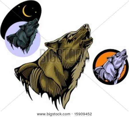 A vector illustration of a wolf in woodcut style. Very clean vectors.