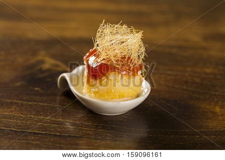 Canasta Cheese Mousse With Guava Jelly And Creamy Cornmeal Cake In A Spoon. Taste Gastronomy Finger