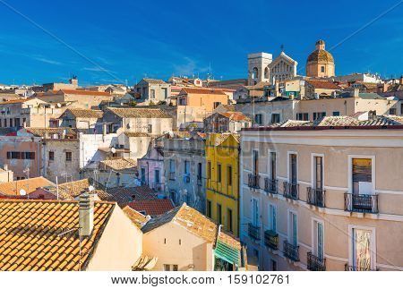 Cagliari - Sardinia Italy: Cityscape of the old city center in the capital of Sardinia, wide angle view from rooftop