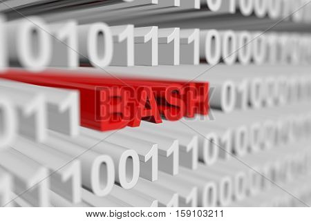 BASH in the form of a binary code with blurred background 3D illustration