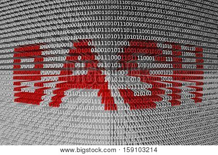 bash is presented in the form of binary code 3d illustration