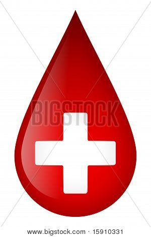 White cross on blood drop