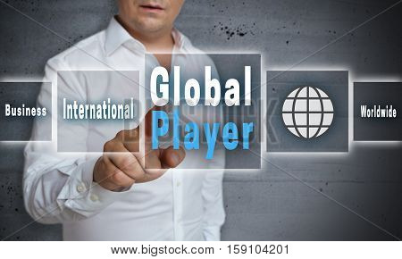 Global player touchscreen concept concrete background picture