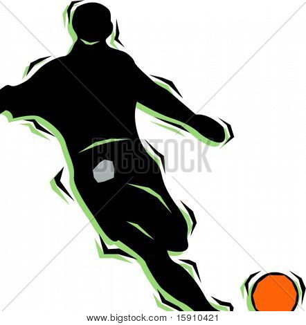 Soccer player hitting a ball.Pantone colors.Vector illustration