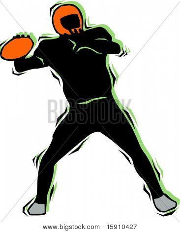 American football player.Pantone colors.Vector illustration
