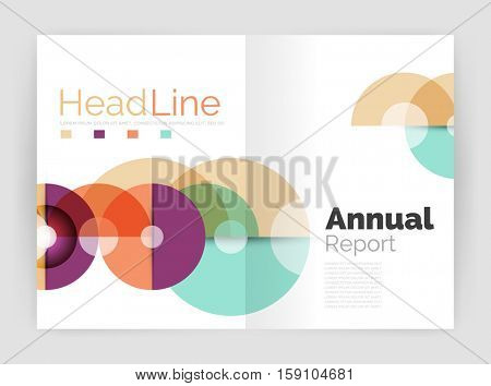 Transparent circle composition on business annual report flyer. illustration