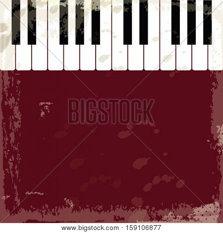 Background with piano keys. Old rustic style. Music event piano template.