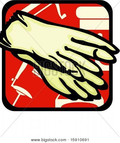 Rubber Gloves.Pantone colors.Vector illustration